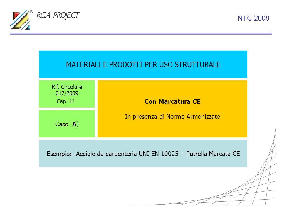 MATERIALI E PRODOTTI PER USO STRUTTURALE Con Marcatura CE In presenza di Norme Armonizzate Rif. Circolare 617/2009 Cap. 11 Caso A) Esempio: Acciaio da