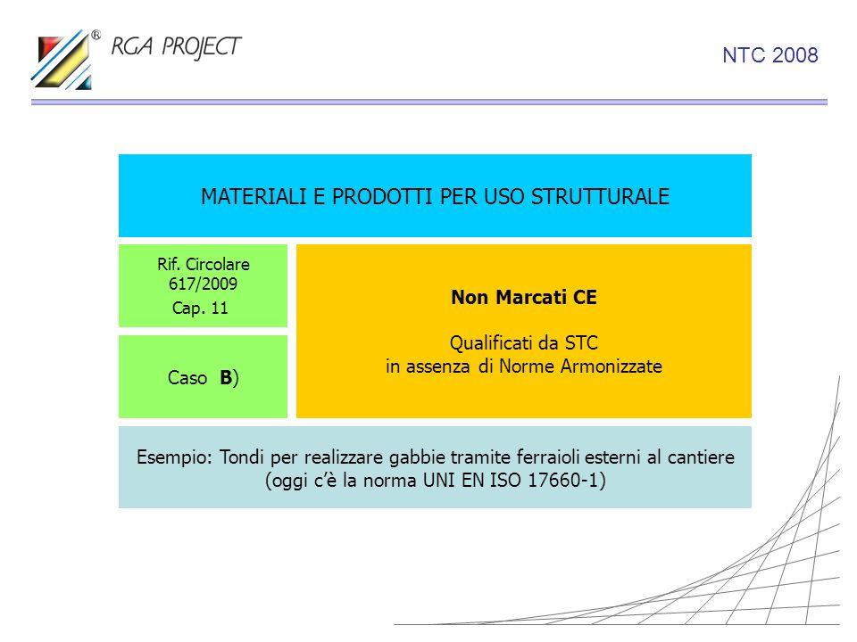 MATERIALI E PRODOTTI PER USO STRUTTURALE Non Marcati CE Qualificati da STC in assenza di Norme Armonizzate Rif. Circolare 617/2009 Cap. 11 Caso B) Ese