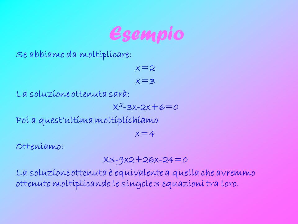 Esempio Se abbiamo da moltiplicare: x=2 x=3 La soluzione ottenuta sarà: X 2 -3x-2x+6=0 Poi a questultima moltiplichiamo x=4 Otteniamo: X3-9x2+26x-24=0