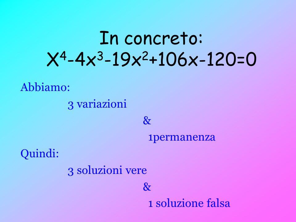 In concreto: X 4 -4x 3 -19x 2 +106x-120=0 Abbiamo: 3 variazioni & 1permanenza Quindi: 3 soluzioni vere & 1 soluzione falsa