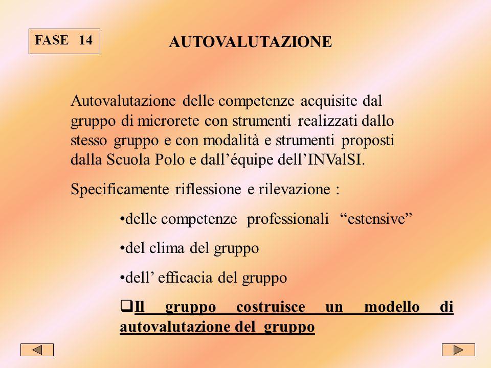 FASE 14 AUTOVALUTAZIONE Autovalutazione delle competenze acquisite dal gruppo di microrete con strumenti realizzati dallo stesso gruppo e con modalità e strumenti proposti dalla Scuola Polo e dalléquipe dellINValSI.