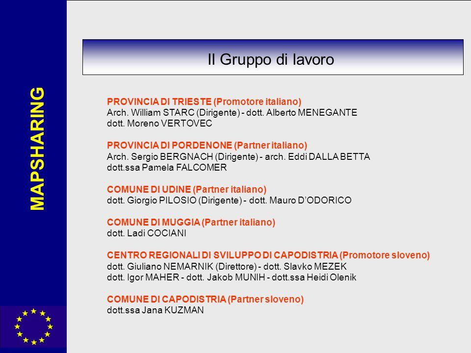 MAPSHARING Il Gruppo di lavoro PROVINCIA DI TRIESTE (Promotore italiano) Arch. William STARC (Dirigente) - dott. Alberto MENEGANTE dott. Moreno VERTOV