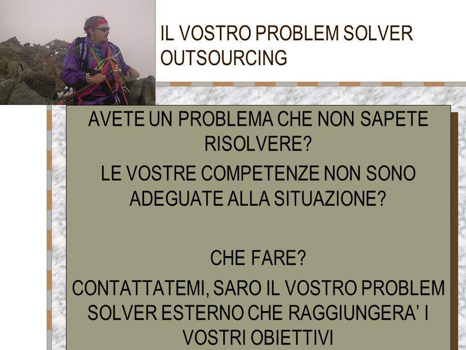 PAOLO REBAI WORLD WIDE SOLUTIONS1 IL VOSTRO PROBLEM SOLVER OUTSOURCING AVETE UN PROBLEMA CHE NON SAPETE RISOLVERE? LE VOSTRE COMPETENZE NON SONO ADEGU