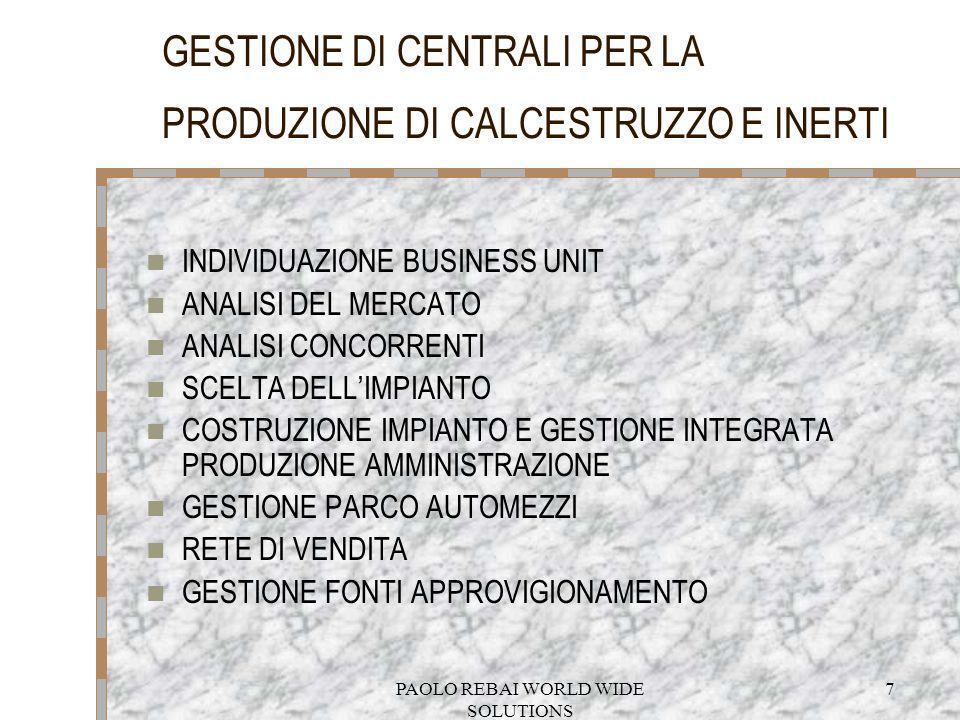 PAOLO REBAI WORLD WIDE SOLUTIONS 7 GESTIONE DI CENTRALI PER LA PRODUZIONE DI CALCESTRUZZO E INERTI INDIVIDUAZIONE BUSINESS UNIT ANALISI DEL MERCATO AN