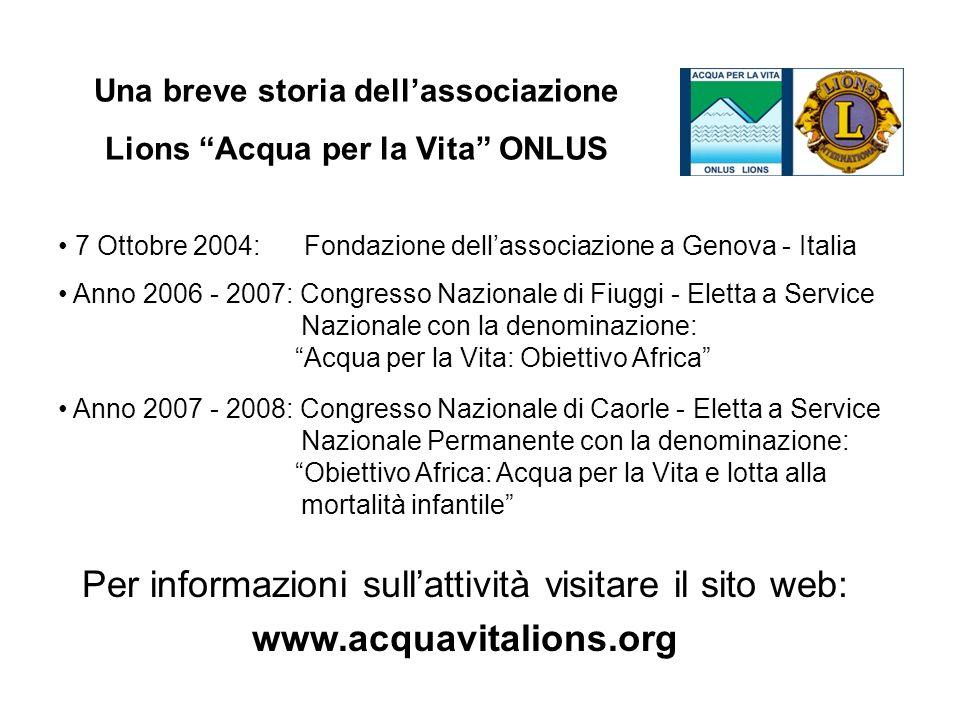 7 Ottobre 2004: Fondazione dellassociazione a Genova - Italia Anno 2006 - 2007: Congresso Nazionale di Fiuggi - Eletta a Service Nazionale con la deno