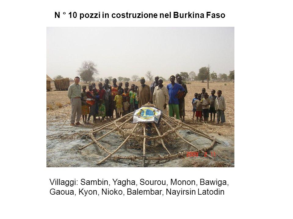 N ° 10 pozzi in costruzione nel Burkina Faso Villaggi: Sambin, Yagha, Sourou, Monon, Bawiga, Gaoua, Kyon, Nioko, Balembar, Nayirsin Latodin