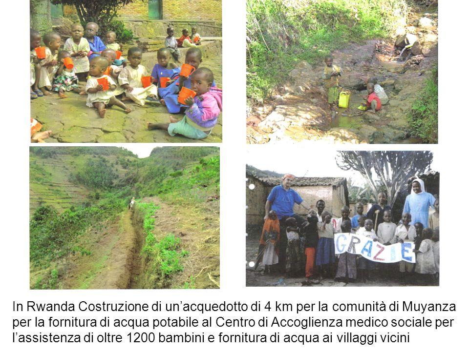 In Rwanda Costruzione di unacquedotto di 4 km per la comunità di Muyanza per la fornitura di acqua potabile al Centro di Accoglienza medico sociale pe