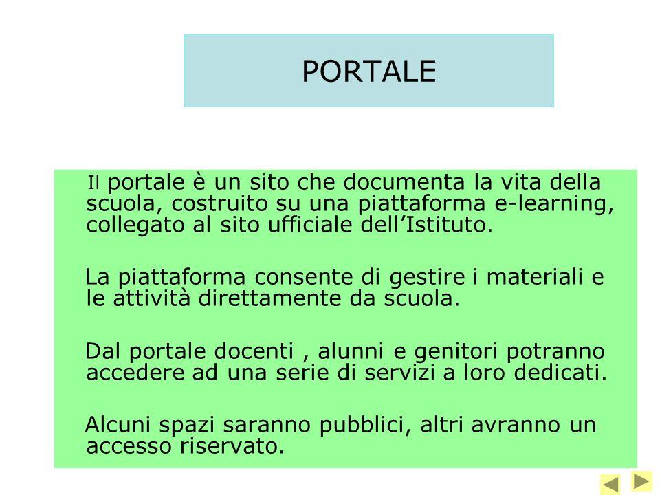 PORTALE Il portale è un sito che documenta la vita della scuola, costruito su una piattaforma e-learning, collegato al sito ufficiale dellIstituto.