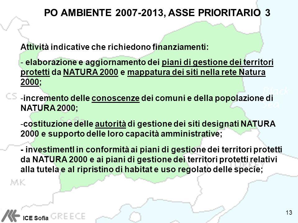 PO AMBIENTE 2007-2013, ASSE PRIORITARIO 3 Attività indicative che richiedono finanziamenti: - elaborazione e aggiornamento dei piani di gestione dei territori protetti da NATURA 2000 e mappatura dei siti nella rete Natura 2000; -incremento delle conoscenze dei comuni e della popolazione di NATURA 2000; -costituzione delle autorità di gestione dei siti designati NATURA 2000 e supporto delle loro capacità amministrative; - investimentI in conformità ai piani di gestione dei territori protetti da NATURA 2000 e ai piani di gestione dei territori protetti relativi alla tutela e al ripristino di habitat e uso regolato delle specie; ICE Sofia 13