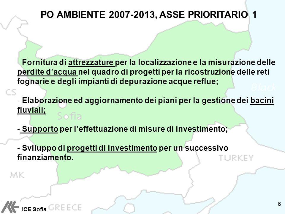 PO AMBIENTE 2007-2013, ASSE PRIORITARIO 1 - Fornitura di attrezzature per la localizzazione e la misurazione delle perdite dacqua nel quadro di progetti per la ricostruzione delle reti fognarie e degli impianti di depurazione acque reflue; - Elaborazione ed aggiornamento dei piani per la gestione dei bacini fluviali; - Supporto per leffettuazione di misure di investimento; - Sviluppo di progetti di investimento per un successivo finanziamento.