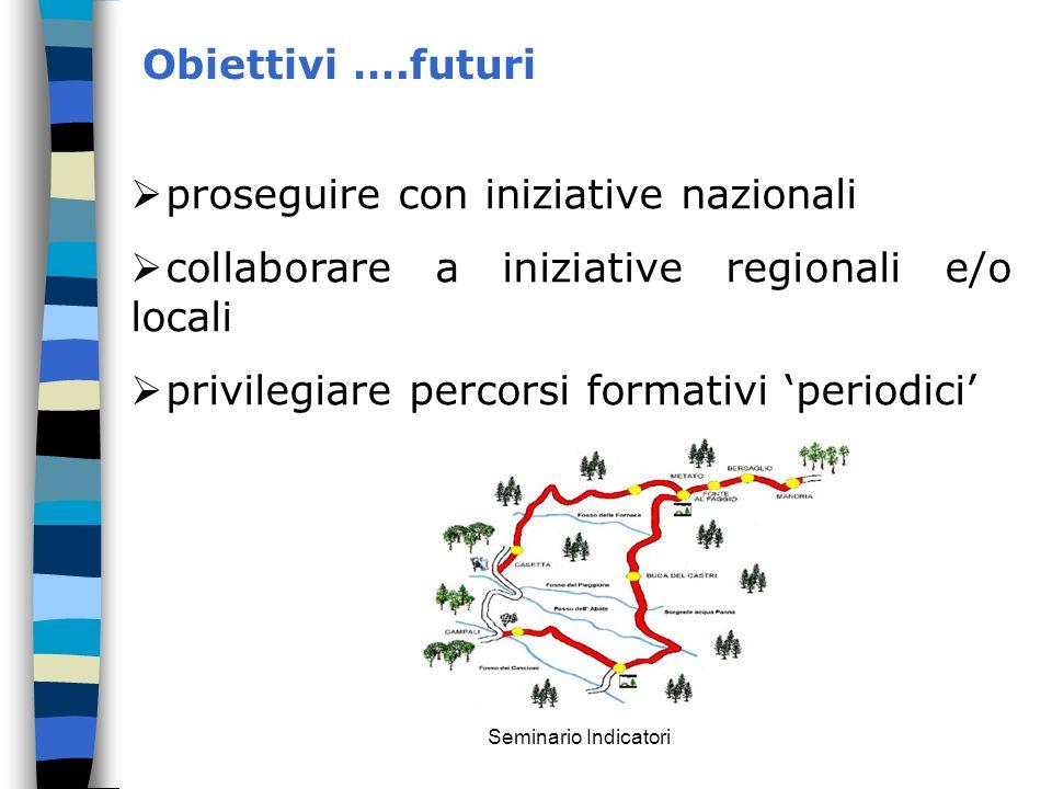 Seminario Indicatori Obiettivi ….futuri proseguire con iniziative nazionali collaborare a iniziative regionali e/o locali privilegiare percorsi format
