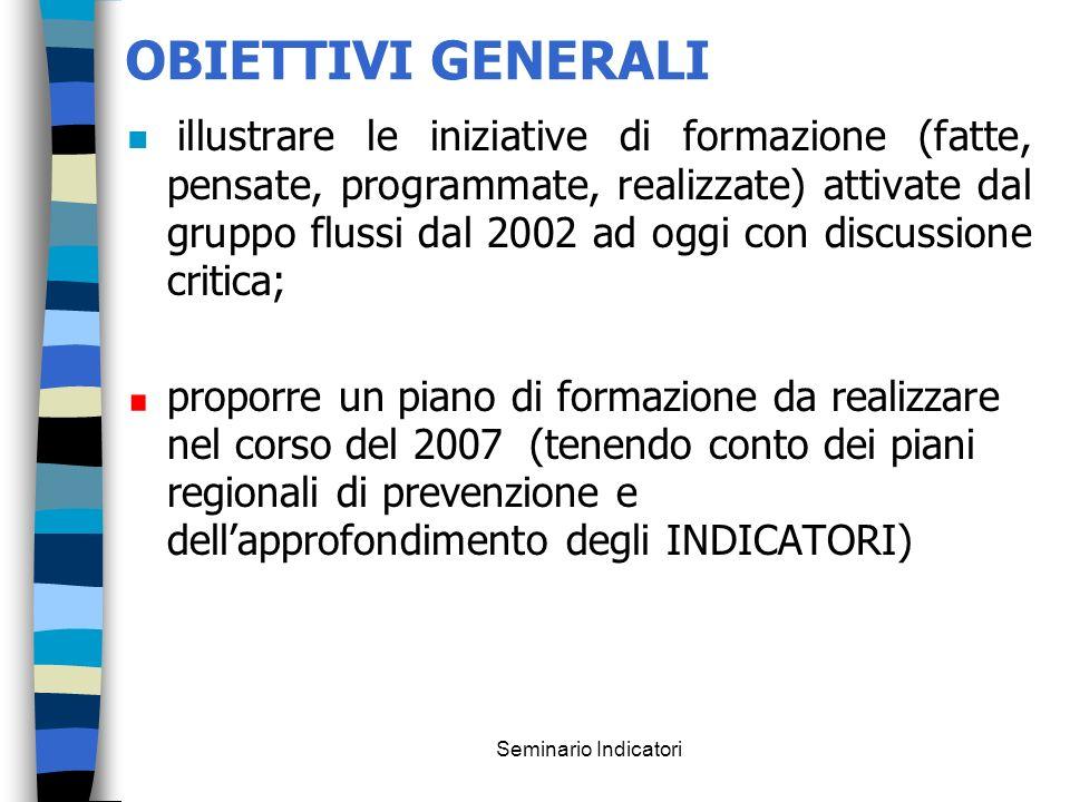 Seminario Indicatori OBIETTIVI GENERALI n illustrare le iniziative di formazione (fatte, pensate, programmate, realizzate) attivate dal gruppo flussi