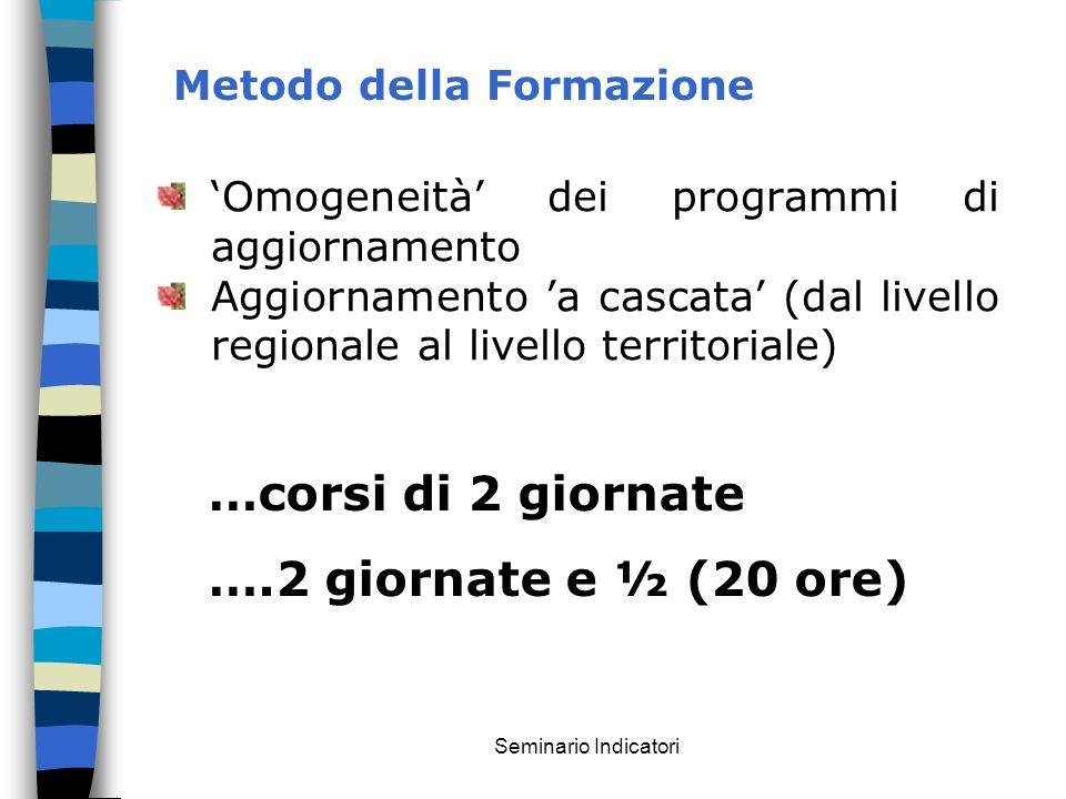 Seminario Indicatori Metodo della Formazione Omogeneità dei programmi di aggiornamento Aggiornamento a cascata (dal livello regionale al livello terri
