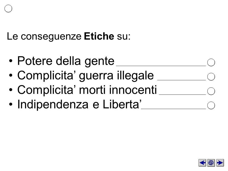 Le conseguenze Etiche su: Potere della gente Complicita guerra illegale Complicita morti innocenti Indipendenza e Liberta