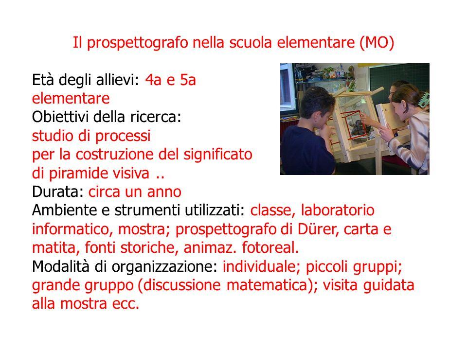 Il prospettografo nella scuola elementare (MO) Età degli allievi: 4a e 5a elementare Obiettivi della ricerca: studio di processi per la costruzione de