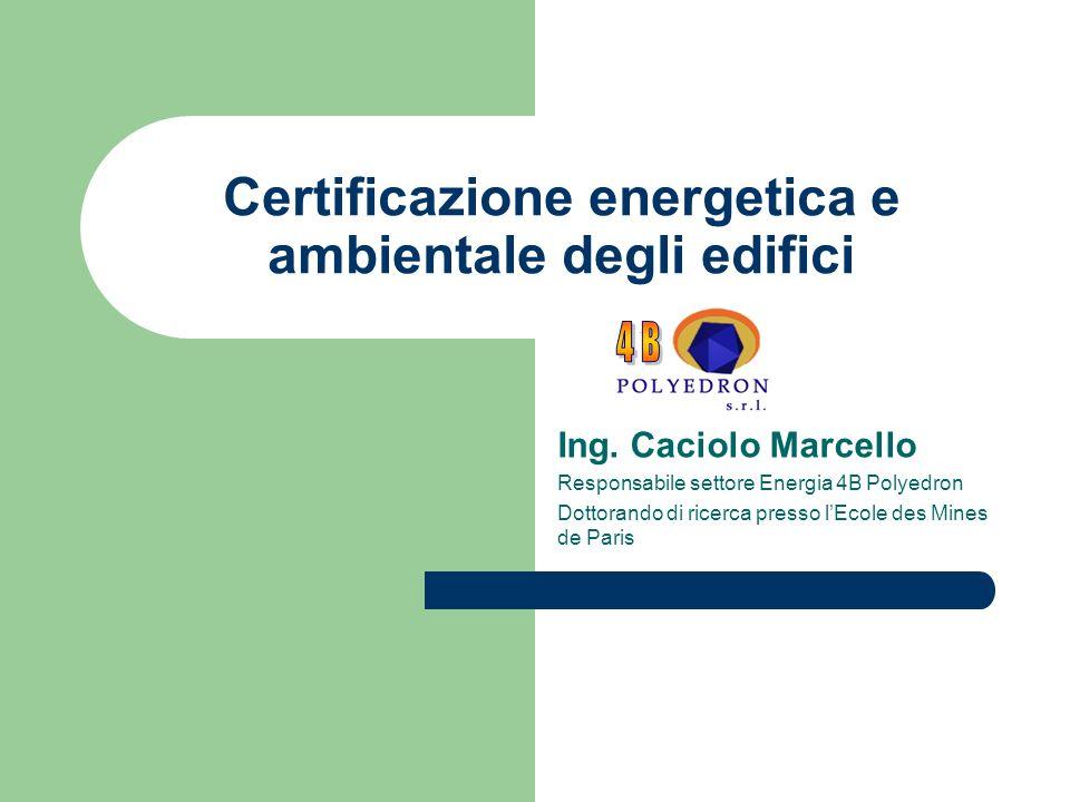 Certificazione energetica e ambientale degli edifici Ing. Caciolo Marcello Responsabile settore Energia 4B Polyedron Dottorando di ricerca presso lEco