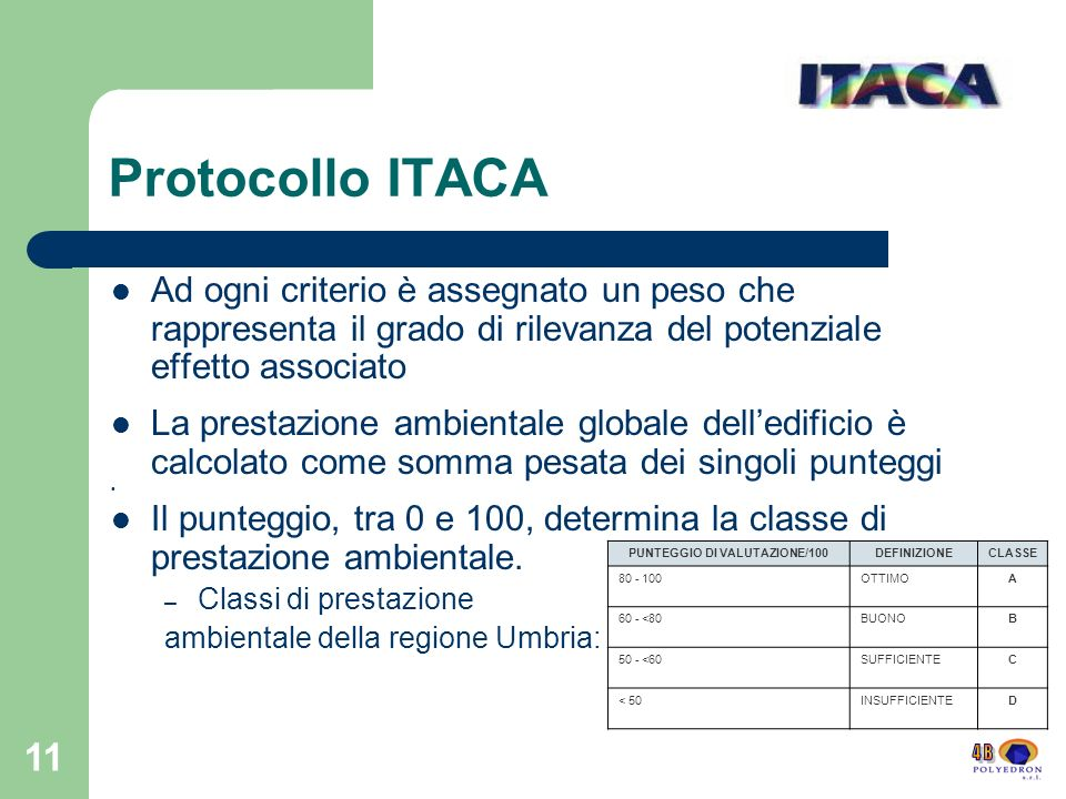 11 Protocollo ITACA Ad ogni criterio è assegnato un peso che rappresenta il grado di rilevanza del potenziale effetto associato La prestazione ambient