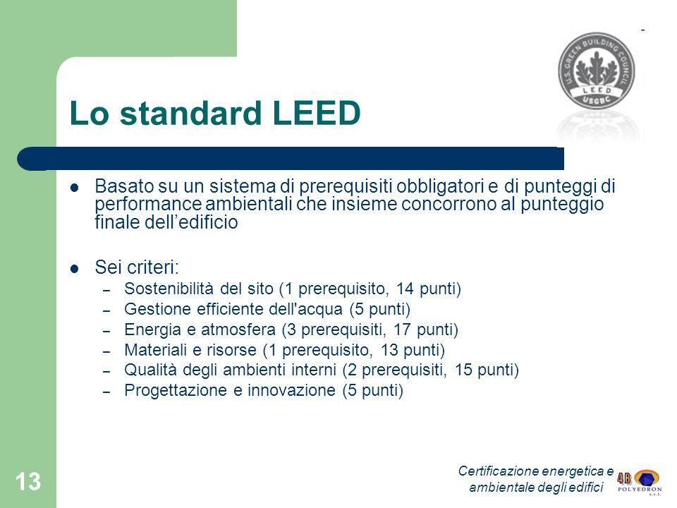 13 Lo standard LEED Basato su un sistema di prerequisiti obbligatori e di punteggi di performance ambientali che insieme concorrono al punteggio final
