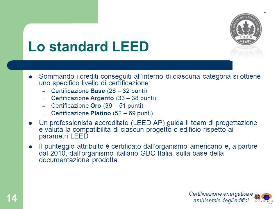 14 Lo standard LEED Sommando i crediti conseguiti allinterno di ciascuna categoria si ottiene uno specifico livello di certificazione: – Certificazion