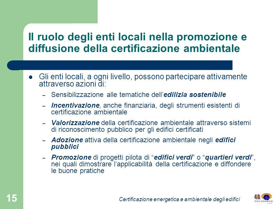 15 Il ruolo degli enti locali nella promozione e diffusione della certificazione ambientale Gli enti locali, a ogni livello, possono partecipare attiv