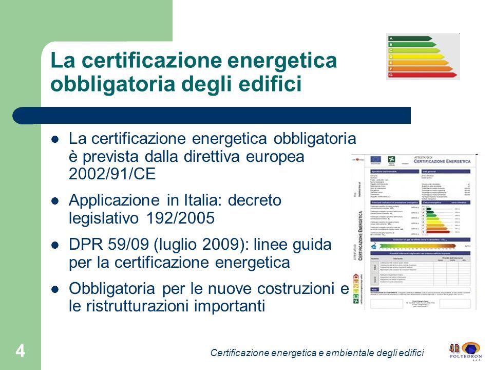 4 La certificazione energetica obbligatoria degli edifici La certificazione energetica obbligatoria è prevista dalla direttiva europea 2002/91/CE Appl