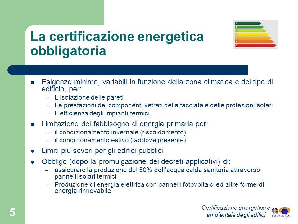 5 La certificazione energetica obbligatoria Esigenze minime, variabili in funzione della zona climatica e del tipo di edificio, per: – Lisolazione del