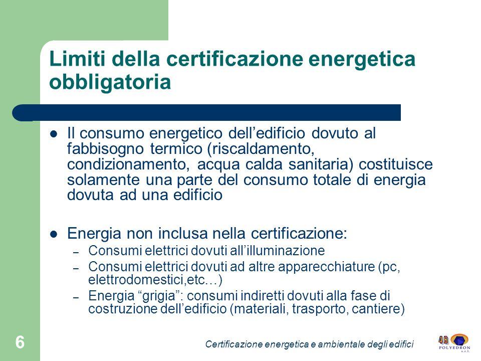 6 Limiti della certificazione energetica obbligatoria Il consumo energetico delledificio dovuto al fabbisogno termico (riscaldamento, condizionamento,