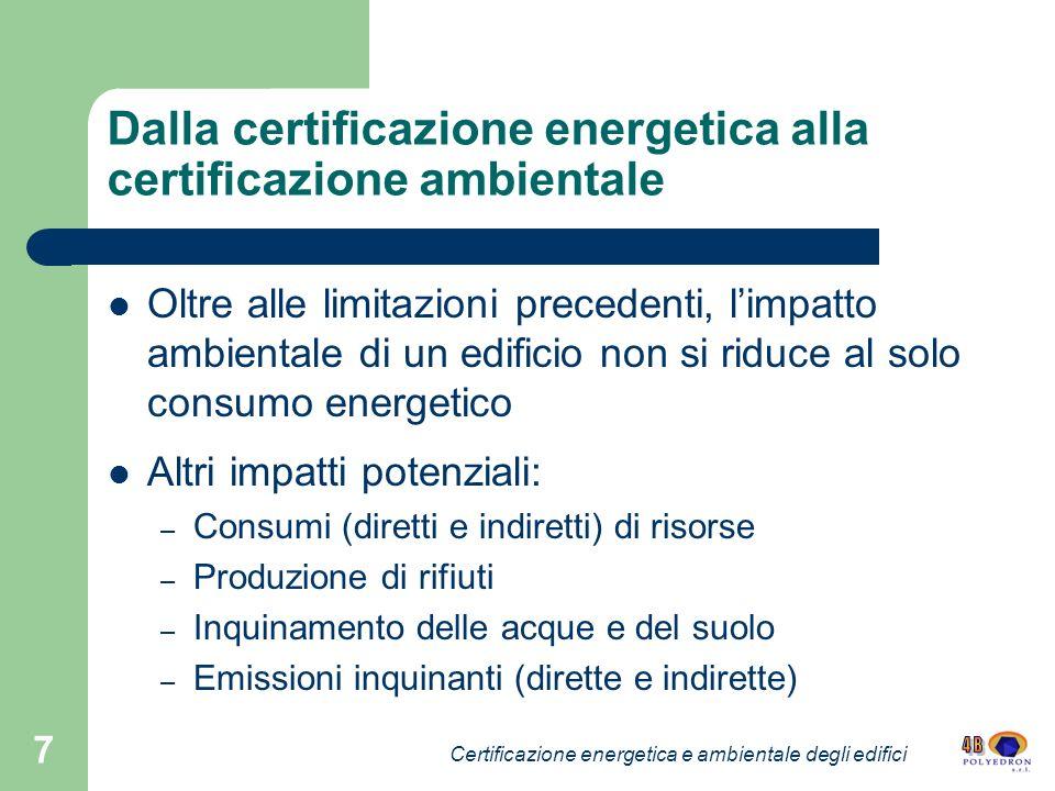 7 Dalla certificazione energetica alla certificazione ambientale Oltre alle limitazioni precedenti, limpatto ambientale di un edificio non si riduce a