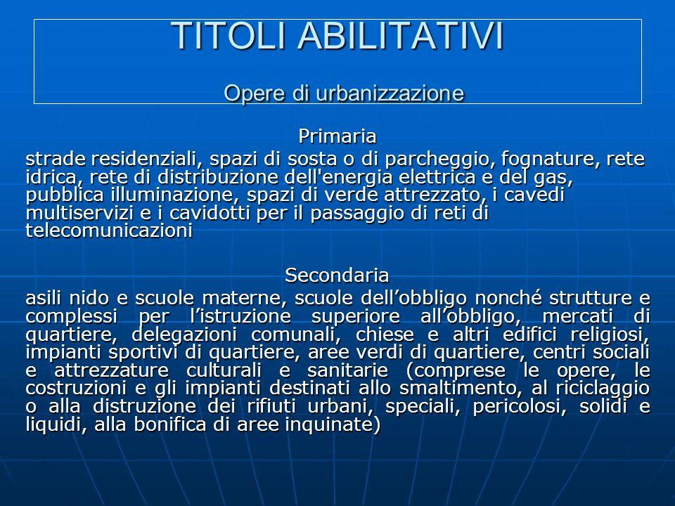 TITOLI ABILITATIVI Opere di urbanizzazione Primaria strade residenziali, spazi di sosta o di parcheggio, fognature, rete idrica, rete di distribuzione