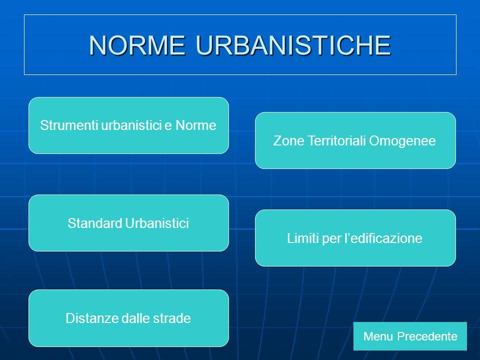 NORME URBANISTICHE Strumenti urbanistici e Norme Standard Urbanistici Zone Territoriali Omogenee Limiti per ledificazione Menu Precedente Distanze dalle strade