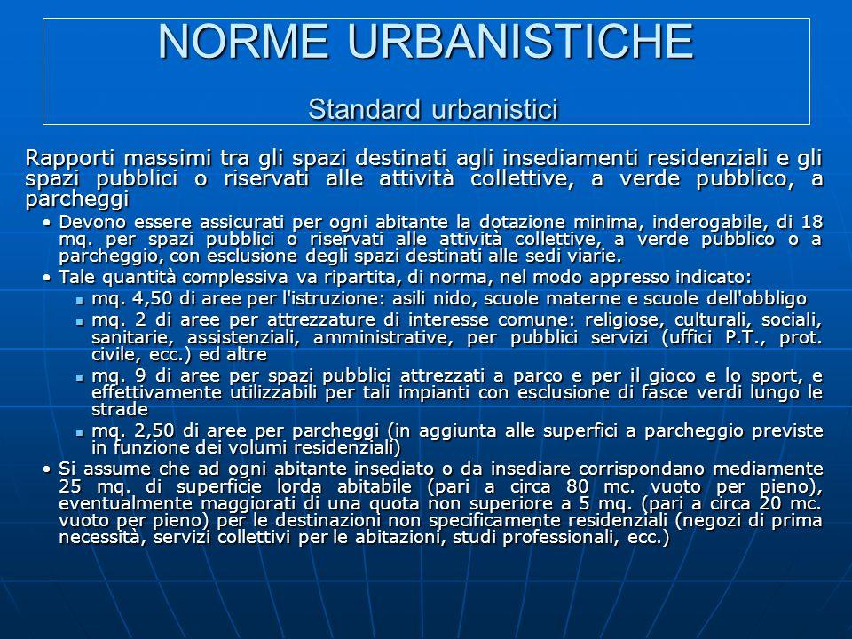 NORME URBANISTICHE Standard urbanistici Rapporti massimi tra gli spazi destinati agli insediamenti residenziali e gli spazi pubblici o riservati alle