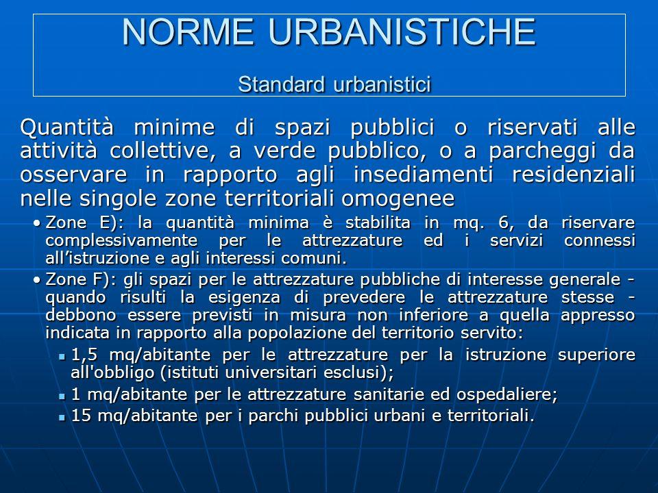 NORME URBANISTICHE Standard urbanistici Quantità minime di spazi pubblici o riservati alle attività collettive, a verde pubblico, o a parcheggi da osservare in rapporto agli insediamenti residenziali nelle singole zone territoriali omogenee Zone E): la quantità minima è stabilita in mq.