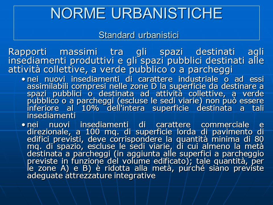 NORME URBANISTICHE Standard urbanistici Rapporti massimi tra gli spazi destinati agli insediamenti produttivi e gli spazi pubblici destinati alle atti