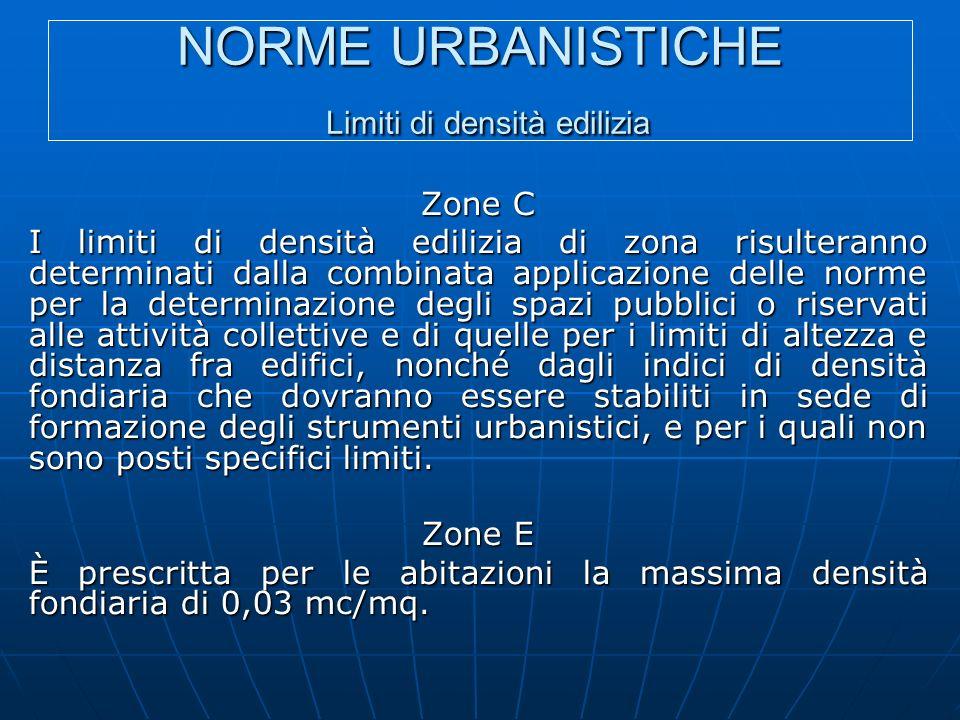 NORME URBANISTICHE Limiti di densità edilizia Zone C I limiti di densità edilizia di zona risulteranno determinati dalla combinata applicazione delle