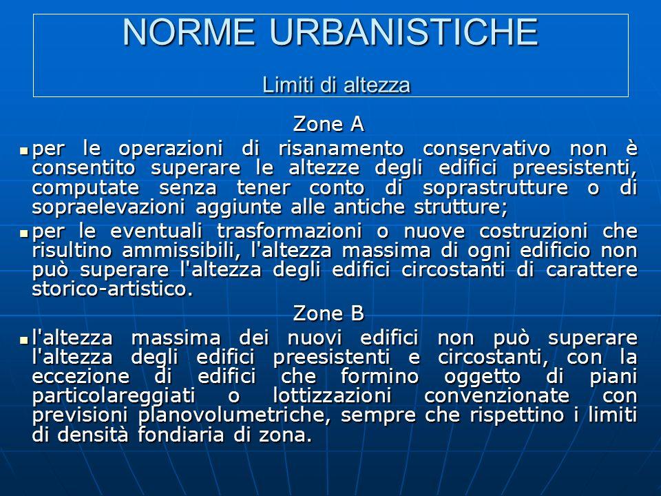 NORME URBANISTICHE Limiti di altezza Zone A per le operazioni di risanamento conservativo non è consentito superare le altezze degli edifici preesiste