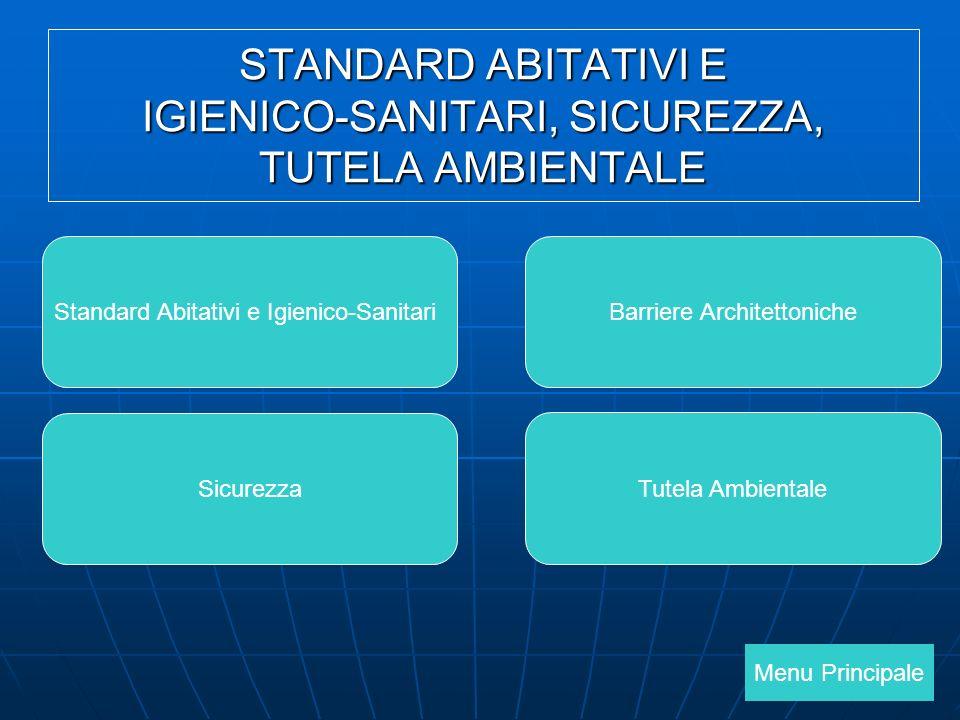 Menu Principale Standard Abitativi e Igienico-SanitariBarriere Architettoniche Sicurezza Tutela Ambientale STANDARD ABITATIVI E IGIENICO-SANITARI, SICUREZZA, TUTELA AMBIENTALE
