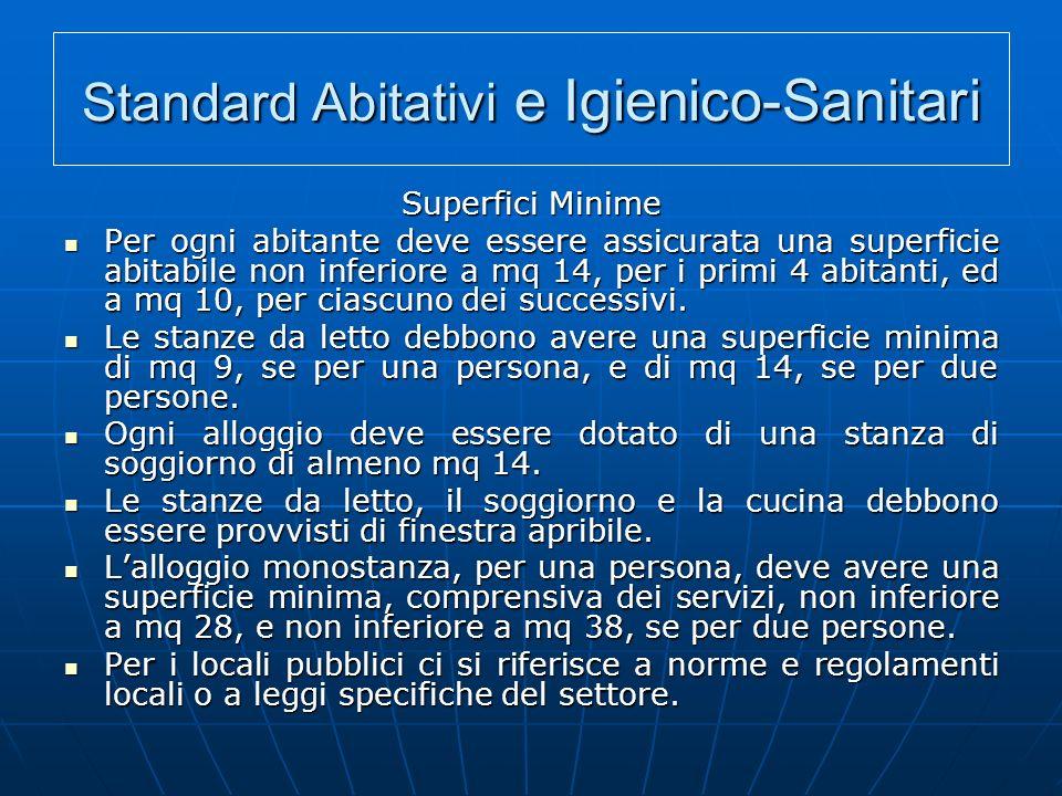 Standard Abitativi e Igienico-Sanitari Superfici Minime Per ogni abitante deve essere assicurata una superficie abitabile non inferiore a mq 14, per i primi 4 abitanti, ed a mq 10, per ciascuno dei successivi.