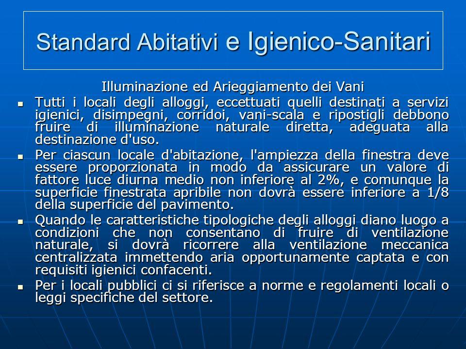 Standard Abitativi e Igienico-Sanitari Illuminazione ed Arieggiamento dei Vani Tutti i locali degli alloggi, eccettuati quelli destinati a servizi igi