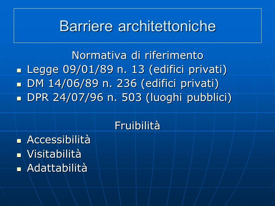 Barriere architettoniche Normativa di riferimento Legge 09/01/89 n. 13 (edifici privati) Legge 09/01/89 n. 13 (edifici privati) DM 14/06/89 n. 236 (ed