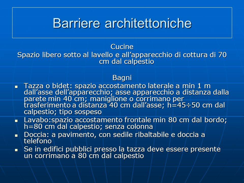 Barriere architettoniche Cucine Spazio libero sotto al lavello e allapparecchio di cottura di 70 cm dal calpestio Bagni Tazza o bidet: spazio accostam