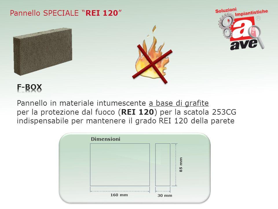 Pannello SPECIALE REI 120 Pannello in materiale intumescente a base di grafite per la protezione dal fuoco (REI 120) per la scatola 253CG indispensabi