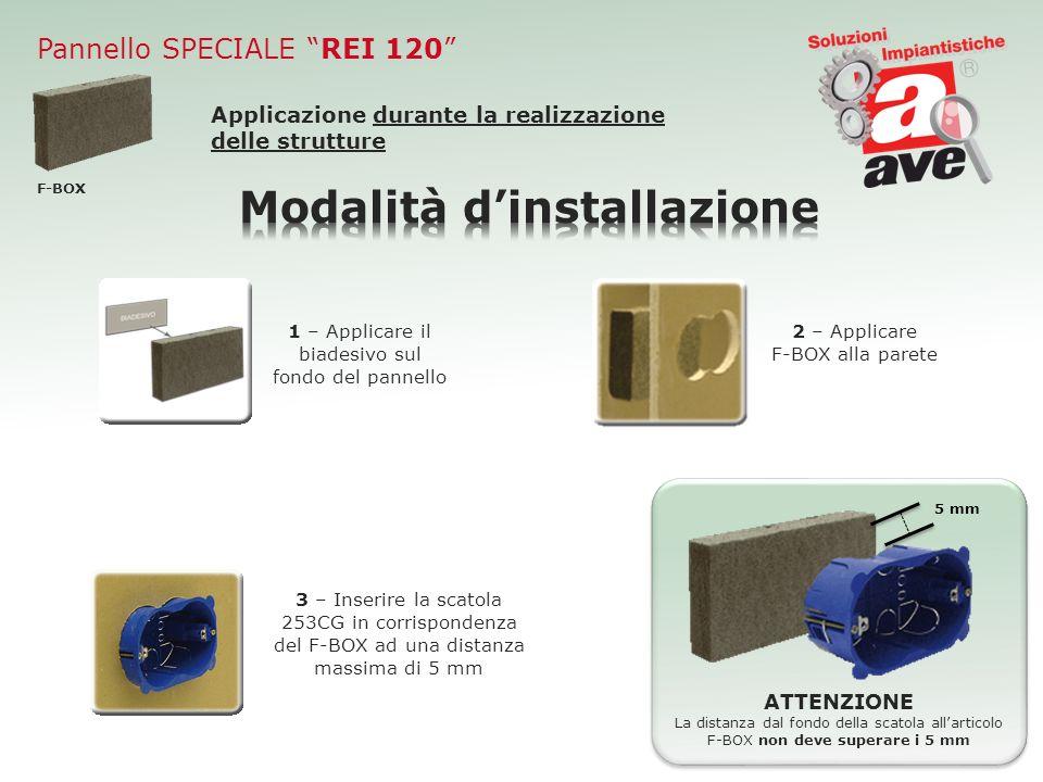 Pannello SPECIALE REI 120 Applicazione durante la realizzazione delle strutture 1 – Applicare il biadesivo sul fondo del pannello 2 – Applicare F-BOX