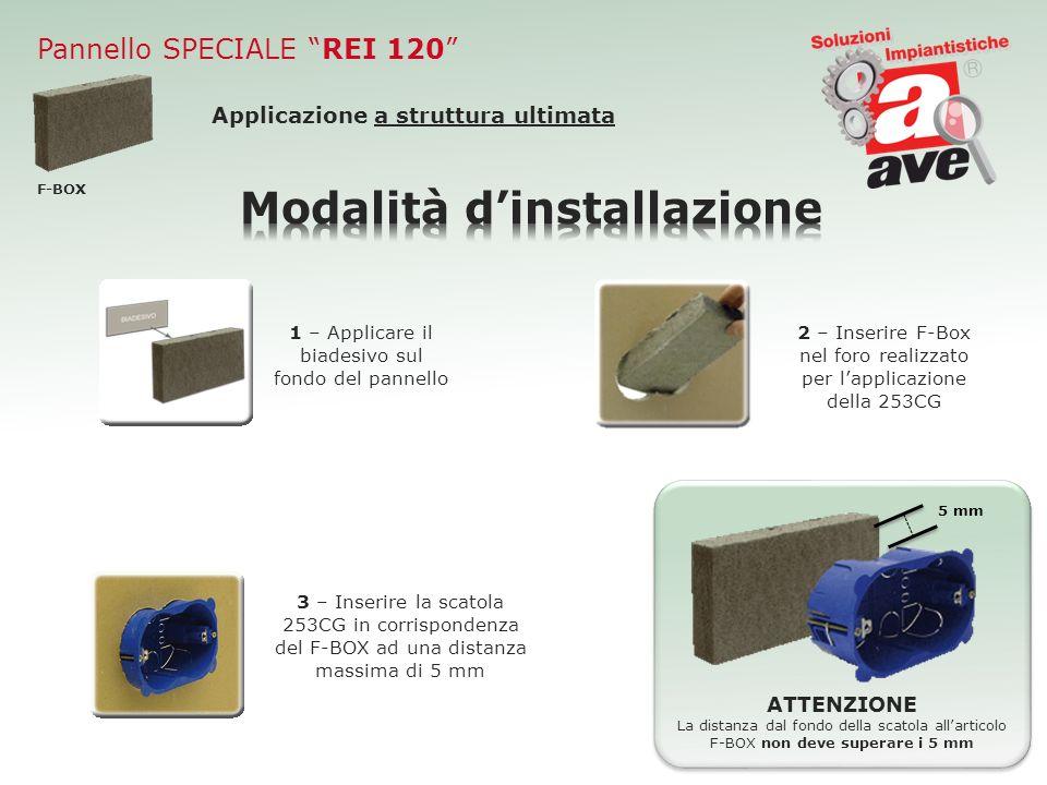 Pannello SPECIALE REI 120 F-BOX Applicazione a struttura ultimata 2 – Inserire F-Box nel foro realizzato per lapplicazione della 253CG ATTENZIONE La d