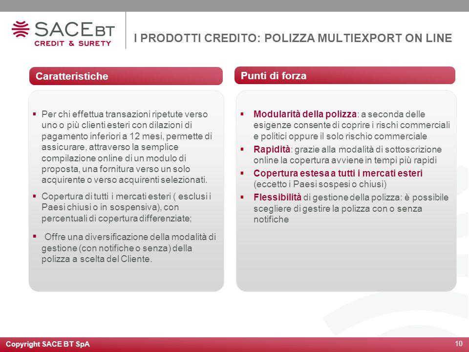 Copyright SACE BT SpA 10 I PRODOTTI CREDITO: POLIZZA MULTIEXPORT ON LINE Caratteristiche Per chi effettua transazioni ripetute verso uno o più clienti
