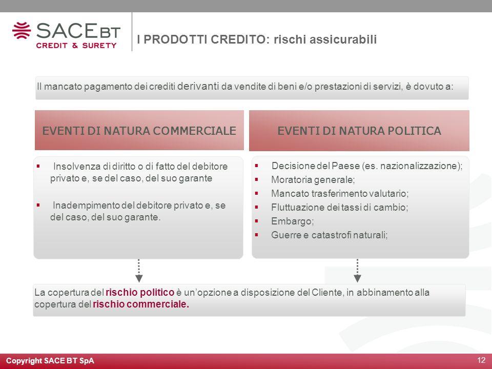 Copyright SACE BT SpA 12 Il mancato pagamento dei crediti derivanti da vendite di beni e/o prestazioni di servizi, è dovuto a: EVENTI DI NATURA COMMER