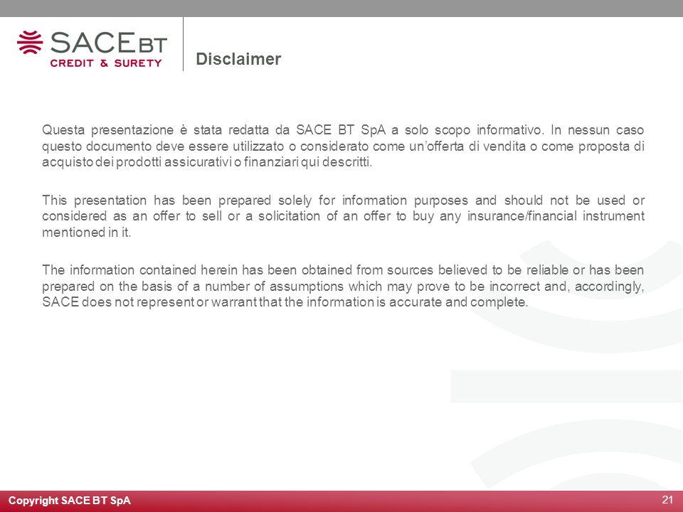 Copyright SACE BT SpA 21 Disclaimer Questa presentazione è stata redatta da SACE BT SpA a solo scopo informativo. In nessun caso questo documento deve