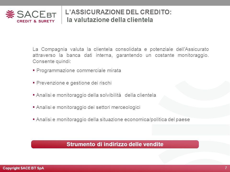 Copyright SACE BT SpA 7 LASSICURAZIONE DEL CREDITO: la valutazione della clientela La Compagnia valuta la clientela consolidata e potenziale dell'Assi