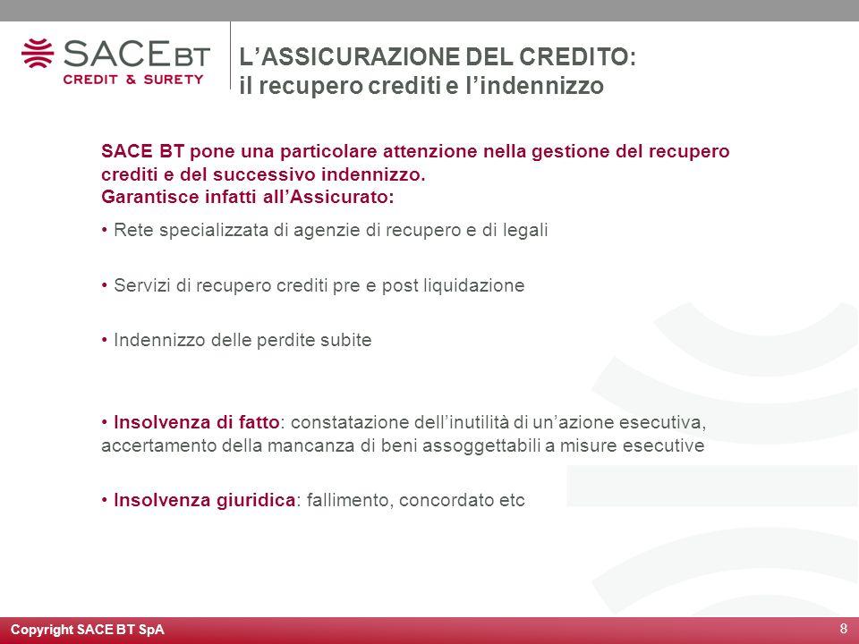 Copyright SACE BT SpA 9 I VANTAGGI DELLASSICURAZIONE DEL CREDITO La sottoscrizione di una polizza crediti, oltre a coprire il rischio specifico di insolvenza del debitore, offre allazienda una serie di vantaggi indiretti: Riduzione del credit risk; Supporto nel processo di gestione del credito; Attività commerciale più mirata; Riduzione dei costi amministrativi; Ottimizzazione dellarea controllo credito; Possibilità di affidare in outsourcing il recupero crediti; Accesso al credito finanziario facilitato attraverso: Cessione dei diritti di polizza; Possibilità di ottenere condizioni vantaggiose dal sistema Bancario.