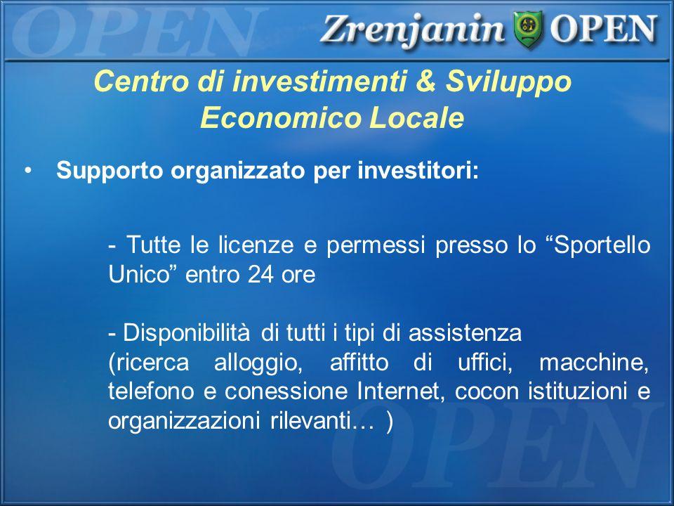 Centro di investimenti & Sviluppo Economico Locale Supporto organizzato per investitori: - Tutte le licenze e permessi presso lo Sportello Unico entro