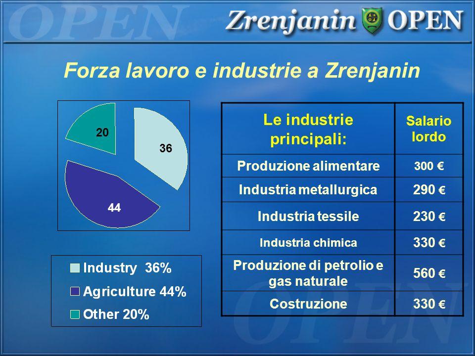 Forza lavoro e industrie a Zrenjanin Le industrie principali: Salario lordo Produzione alimentare 300 Industria metallurgica290 Industria tessile230 I